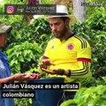 Julián Vázquez, el artista colombiano que pinta con tinta de café y cautivó a Shakira