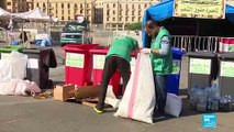 Lebanese activists clean up after protests