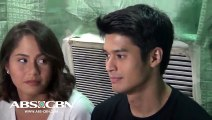 Grace and Christian welcome the press at the You're My Home Set Visit