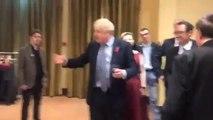 Listen to Boris Johnson contradicting his own Brexit deal in rambling speech in NI last night