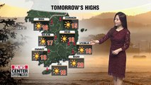 Chilly on Ipdong but clear and mild on Saturday with rain expected on Sunday night