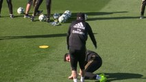 Ramos heads ball into Real Madrid team-mate's face