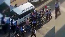 Zabıta ve vatandaşlar arasında arbede kamerada