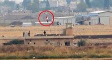 Kamışlı'da, YPG'li teröristlerin kullandığı binadaki Suriye bayrakları, Nusaybin'den görüntülendi