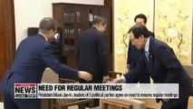 President Moon Jae-in, leaders of 5 political parties agree on need to resume regular meetings