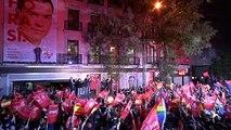 Sánchez celebra la victoria en la sede del PSOE