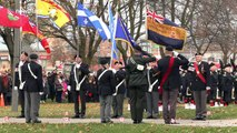 Members of the public and veterans attend Remembrance Day service in Aurora, Canada