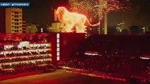 Un lion géant sur le toit du stade d'Estudiantes