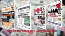 REVUE DE PRESSE CAMEROUNAISE DU 11 NOVEMBRE 2019