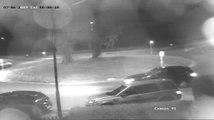 Fleeing Car Flies Over Roundabout