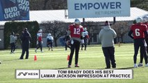 Tom Brady Does His Best Lamar Jackson Impression At Practice
