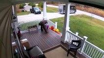 Ce livreur UPS range la terrasse de cette maison avant de partir !