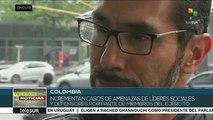Colombia: crecen amenazas contra quienes investigan violaciones a DDHH