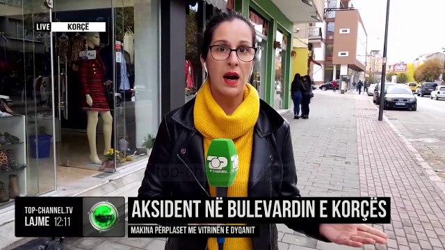 Aksident në Bulevardin e Korçës/ Makina përplaset me vitrinën e dyqanit