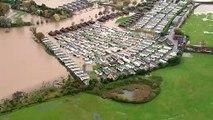 Aerials over Evesham show devastation of flood damage