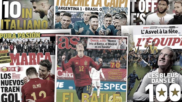 Messi fait les gros titres en Argentine après la victoire face au Brésil, la jeunesse de la Roja encensée en Espagne