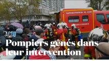 Des pompiers perturbés dans leur intervention par des manifestants place d'Italie
