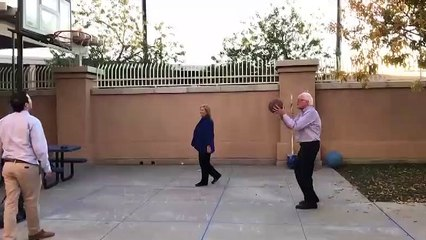 Bernie Sanders Nails 3 Consecutive Basketball Hoops In 10 Seconds