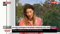 Un pont suspendu s'effondre à Mirepoix-sur-Tarn, au nord de Toulouse - Un camion et une voiture sont tombés dans le Tarn - Au moins 1 mort et 5 blessés, selon un nouveau bilan