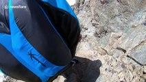 French man ice climbs huge mountain, only to base jump from the top