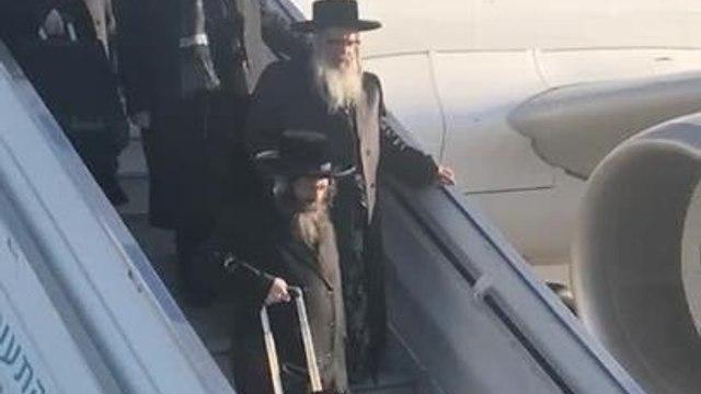 The Rebbe of the Satmar Hassidic community Rabbi Zalman Teitelbaum arriving at Ben Gurion airport on November 19, 2019. (Courtesy of the Satmar community of Williamsburg)