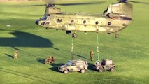 Aerial View of Sling Load Operations - CH-47 Chinook & Eurocopter AS532 Cougar Helicopters
