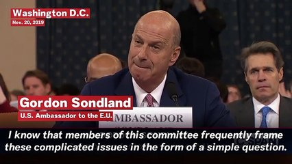 Sondland Affirms Quid Pro Quo In Ukraine Dealings, Pushed By Giuliani And Ordered By Trump