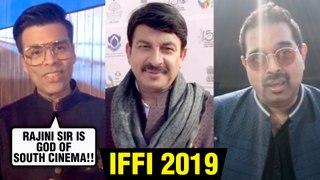 Karan Johar EMOTIONAL For Amitabh, Rajinikanth With Manoj Tiwari & Bollywood Stars | IFFI 2019