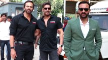 Ajay Devgn Saif Ali Khan Rohit Shetty SPOTTED At Tanhaji- The Unsung Warrior Official Trailer Launch