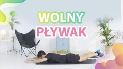 Leżenie przodem z rękoma wyprostowanymi nad głową, wolne, jednoczesne i naprzemienne wznosy rąk i nóg - Krok do Zdrowia