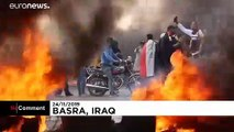 Iraq protests: Basra streets fill with black smoke, burning tyres