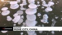 En Chine, des bulles de méthane gelées causées par le froid