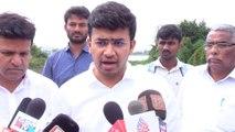 Hulimavu lake breach : Tejasvi Surya visits the affected area
