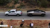 Elon Musk Shares Video Of Cybertruck Pulling F-150 Uphill
