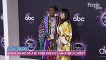 Kesha Wears Belted Robe Dress as She Poses with Big Freedia on AMAs Red Carpet Ahead of Performance
