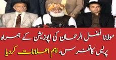 Maulana Fazlur Rehman addresses media along with opposition