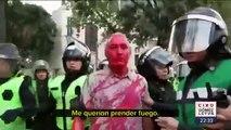 Feministas causan destrozos durante la marcha en la CDMX