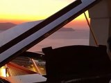 Piano with sunset