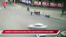 Hareket halindeki aracında fenalaşan sürücüyü polis kurtardı