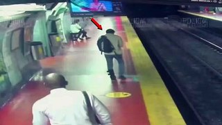 Man glued to his phone falls off subway platform in Buenos Aires