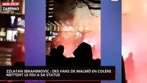 Zlatan Ibrahimovic : des fans de Malmö en colère mettent le feu à sa statue (vidéo)