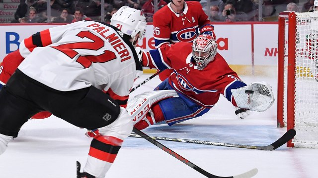 Carey Price robs Kyle Palmieri with an incredible diving glove save
