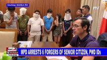 MPD arrests 6 forgers of senior citizen, PWD IDs