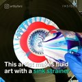 This artist makes fluid art with a sink strainer