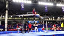 PH gymnast Carlos Yulo warms up before competition starts