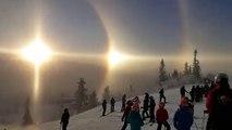 Triple soleil dans le ciel de Suède - Phénomène naturel incroyable nommé Parhélie
