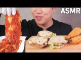 ASMR | Most spicy kimchi in KOREA & Rice burger & Chicken Eating sounds No talking