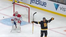 David Pastrnak rips puck in off the iron for 25th goal