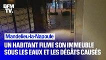 Un habitant de Mandelieu-la-Napoule a filmé la cage d'escalier de son immeuble, transformée en torrent d'eau, puis les dégâts au lendemain des intempéries