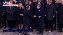 Les anciens chefs d'État Nicolas Sarkozy et François Hollande arrivent aux Invalides